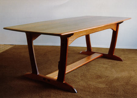 trestle dining table. Red Meranti Wood Dining Table